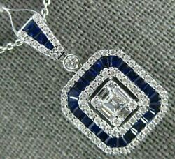 Large 2.40ct Diamond And Aaa Sapphire 18kt White Gold 3d Round And Baguette Pendant