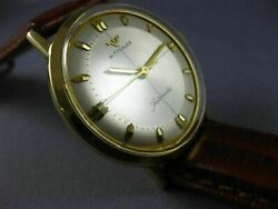Estate 14kt Yellow Gold Wittnauer Swiss Automatic Mens Watch Leather Band 21521