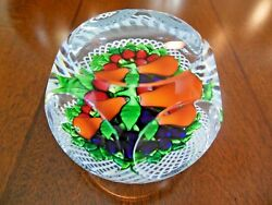 1979 St Saint Louis France Crystal Latticino Vegetable Fruit Paperweight Faceted