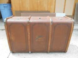 Antique Wood Suitcase Luggage Trunk Fast French Line Steamers Travel Stamp Paris