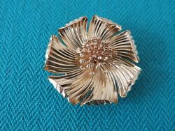 And Co Antique 14k Yellow Gold 40 Mm Round Flower Brooch Double Pins