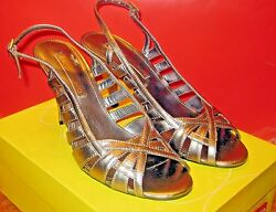 Bandolino Metallic Pewter Evening Strapy Party Sandals Size 7 1 2M Very Sexy $8.99