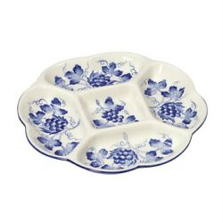 Andrea By Sadek Blue In Bloom 9.5 Segmented Divided Dish With Grapes Cw862 Nib