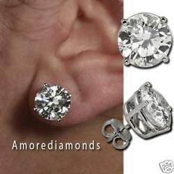 7.72 ct E SI1SI2 natural round diamond 4 prong stud solitaire earrings platinum