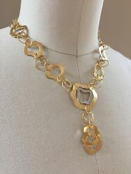 I. Reiss gold necklace diamond details hammered handmade statement NWT 14K