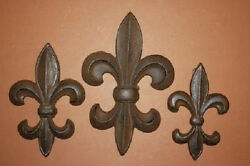 3 Vintage Style Fleur De Lis Wall Plaques, Cast Iron, French Country, F-5,6,7