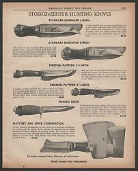 1959 Stoeger-zephyr Hunting Knife Ad 4 Knives Shown W/prices Plus Hatchet Combo