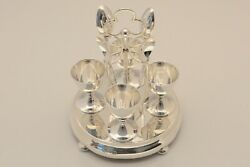 Silver Sterling C1903 S M And Co London Hm Egg Cup Spoon Cruet Set Rare Stunning