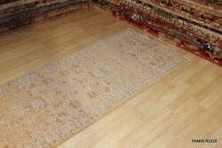 ON SALE 13 Ft. long handmade hall runner Very muted SOFT COLOR goldbeige rug