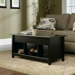 Lift-up Top Coffee Table W/hidden Storage Compartment And Shelf Black
