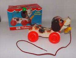 1982 Fisher-price Little Snoopy Pull Toy In Original Box - 693