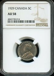 1929 CANADA 5C NGC AU 58 (ABOUT UNCIRCULATED 58) CANADIAN 5C COIN FC704