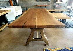 Black Walnut Live Edge Table with Brass Inlay. Antique Brass Plated Lathe Legs.