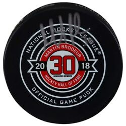 Martin Brodeur Autographed Hall Of Fame Night Official Game Puck Fanatics
