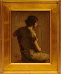 Fine Orientalist School Original Oil Painting Of A Seated Beauty Gallery Frame