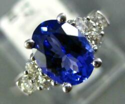 1.62ct Diamond And Aaa Tanzanite 14kt White Gold Oval And Round Engagement Ring