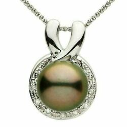 Estate .29ct Diamond And Aaa Tahitian Pearl 18kt White Gold Circle Of Life Pendant