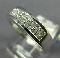 Wide .84ct Diamond 14k White Gold 3d Princess Two Row Invisible Anniversary Ring