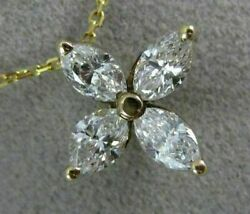 Antique 1.30ct Marquise Diamond 14kt Yellow Gold Four Leaf Flower Pendant 19788