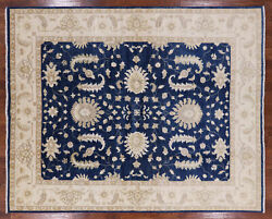 7and039 10 X 9and039 7 Blue Peshawar Hand Knotted Wool Rug - P3702
