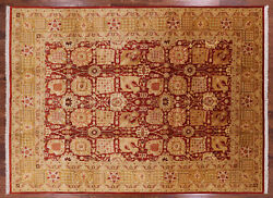 9' 1 X 12' 6 Hand Knotted Peshawar Wool Rug - P4031
