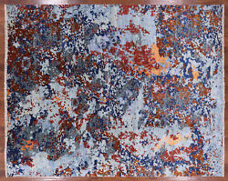 7' 11 X 9' 11 Contemporary Hand Knotted Wool And Silk Rug - P8494