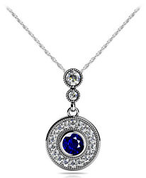 New 14k White Gold Sapphire And Diamond Circle Round Halo Drop Pendant Necklace