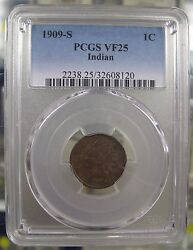 1909-s 1c. Indian Head Cent Pcgs Vf25. Key Date