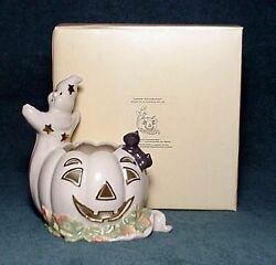 Lenox Occasions Halloween Votive Ghost And Black Cat On Pumpkin New In Box
