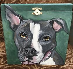 Custom hand painted portrait memorial LARGE Wood box Pet URN PIT bull terrier