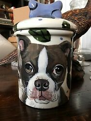 Custom Ceramic DOG TREAT Jar Boston terrier large canister tye dye PET PORTRAIT