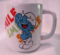 1981 Hanna-barbera Smurfs Laughing Smurf Smile Mug Cup Wallace Berrie