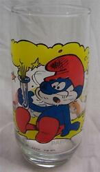 1982 Vintage The Smurfs Papa Smurf 6 Collector's Glass Cup Hanna-barbera