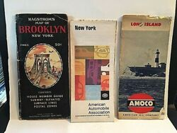 Lot Of 3 Vintage New York Road Maps. Ny And Long Isand  Z