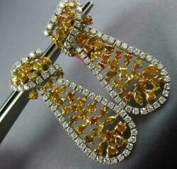 LARGE 10.30CT WHITE & FANCY YELLOW DIAMOND 18KT GOLD TEAR DROP HANGING EARRINGS