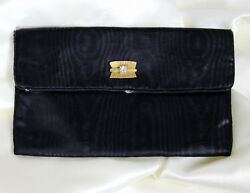 Vintage 1950s 1960s Small Satin Clutch Evening Bag Gold Rhinestone Snap $9.99