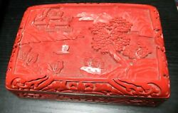 Rare Chinese Carved Landscape Cinnabar Lacquer Enamel Humidor Box 6 X 4 X 2