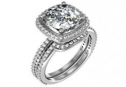 5 ct EGL USA D SI1 cushion natural diamond engagement wedding ring set platinum