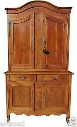French Louis Xv Carved Cherry And Burl Buffet Deux Corps Cabinet Entertainment Ctr