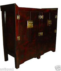 Red Faux Tortoise Lacquer Asian Antique Chinese Ming St Chinoiserie Cabinet Bar