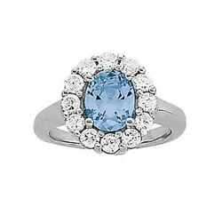 New Ladies 14k White Gold Diamond And Aquamarine Oval Cut Halo Cocktail Ring