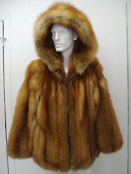 Brand New Canadian Red Fox Fur Jacket W/ Hood Coat For Men Man Size All
