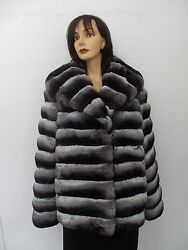 BRAND NEW RANCHED CHINCHILLA FUR JACKET COAT WOMEN WOMAN SIZE ALL