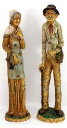 Vintage Signed L.Toni Old Man amp; Woman Figurines 20quot; Tall Made in Italy