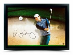 Rory Mcilroy Autographed Breaking Through With Range Driven Ball Sand Trap Uda