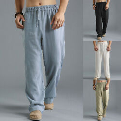 US STOCK Mens Casual Linen Baggy Yoga Beach Solid Loose Pants Chinese Trousers