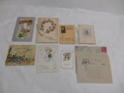 Antique Lot 8 Greeting Cards Christmas Easter Birthday Handwritten Old Estate