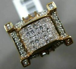 Large 2.45ct Round Baguette And Princess Diamond 14k Rose Gold 3d Square Mens Ring