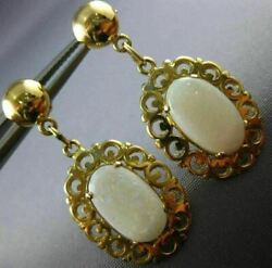 Antique Aaa Opal 14kt Yellow Gold 3d Classic Filigree Hanging Earrings 22091