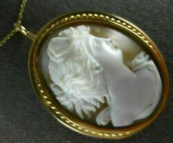 Antique Large 14k Yellow Gold Italian Lady Shell Cameo Pin Brooch Pendant 19940